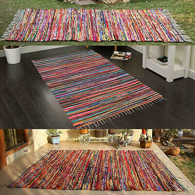 £29.97 • Buy Handmade Indian Chindi Rag Rug 100% Recycled Cotton Large Small Woven 160X230CM