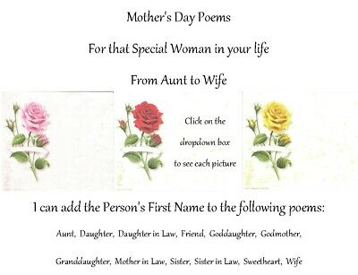 Mother's Day Personalized Gifts~Personalized Poems For That Special Woman • 6.60£