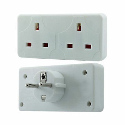 2 Way European Travel Electrical Plug Socket Adaptor Eu 2 Pin To Double UK 3 Pin • 5.99£