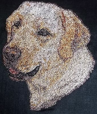 Embroidered Quilt Block Panel  Golden Labrador Dog  Black Linen Fabric • 7£