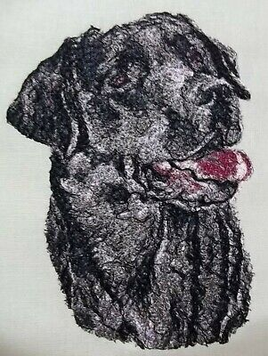 Embroidered Quilt Block Panel  Black Labrador Dog  100% Linen Fabric • 7£