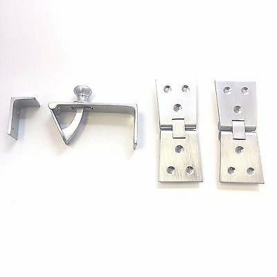 Solid Satin Chrome Counterflap Bartop Worktop Shop Counter Catch - Hinges • 9.99£