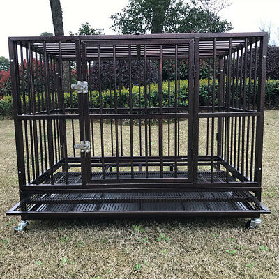 $189.99 • Buy 42  Metal Heavy Duty Dog Cage Large Pet Crate Kennel Playpen W/Tray Wheels