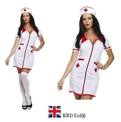 ADULT SEXY NURSE Fancy Dress Costume Naughty Hen Party Ladies Uniform Outfit UK • 10.35£