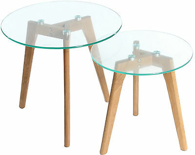 Glass Nesting Table With Solid Oak Wood Legs Set Of 2  • 54.99£