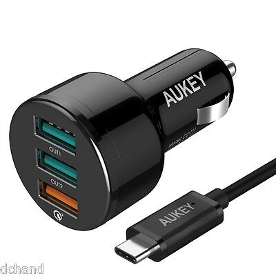 AU48.90 • Buy Quick Charge 3.0 AUKEY USB 3 Ports Car Charger With C Cable. Qualcomm Certi