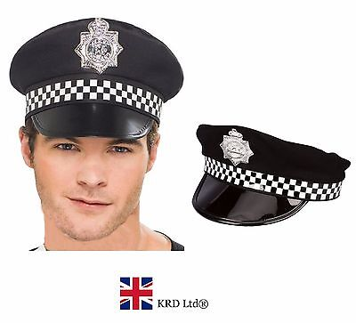 £6.10 • Buy ADULT POLICEMAN HAT Police Cop Fancy Dress Costume Peak Cap With Check Band UK