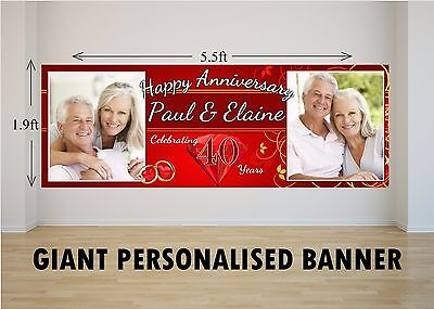 Personalised GIANT Large 40th Ruby Wedding Happy Anniversary Banner N30  • 25.99£
