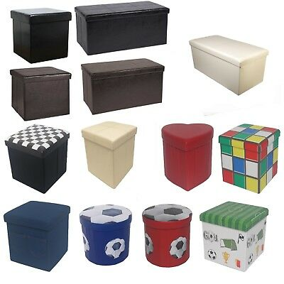 Large New Folding Storage Ottoman Seat Toy Storage Box Faux Leather Pouffe Stool • 14.95£