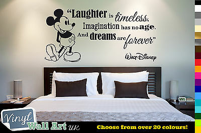 Laughter Is Timeless - Mickey Mouse Vinyl Wall Art Sticker - Walt Disney Quote • 7.49£