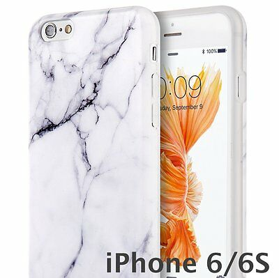 AU11.83 • Buy For IPhone 6 / 6S - WHITE MARBLE PATTERN Hard TPU Rubber Gummy Skin Case Cover