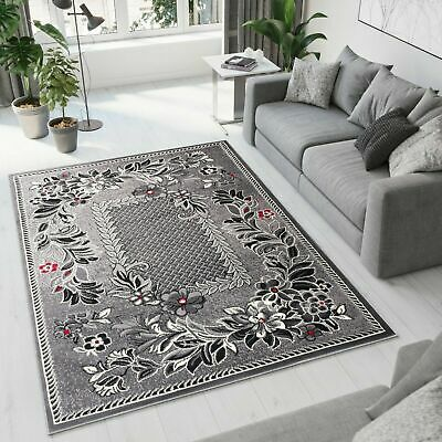 New Rug Modern Design Small Extra Large Soft Pile Roman Flowers Pattern Grey • 29.90£