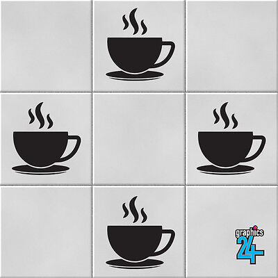 Coffee Cups Vinyl Wall Tile Stickers Decals Transfers Kitchen Home Decor • 4.49£