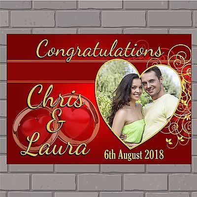 Personalised Congratulations Wedding Engagement PHOTO Poster Print Banner N150  • 18.99£