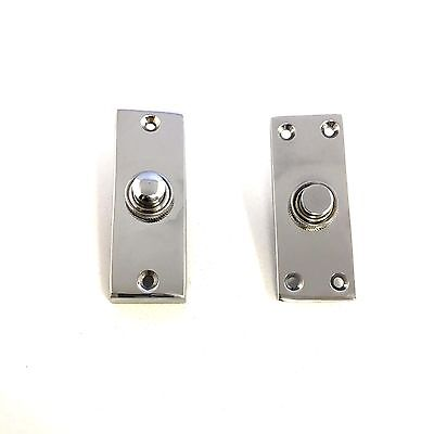 Solid Polished Chrome Victorian Door Bell Chime Push Button Press  • 6.99£