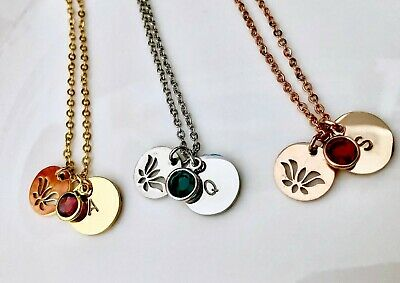 $ CDN12.63 • Buy Personalized Initial LOTUS Flower/birthstone Necklace Hand Stamped Yoga Jewelry