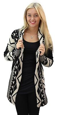 Ladies Womens Open Front Long Sleeve Chunky Knitted Aztec Cardigan Top • 14.95£