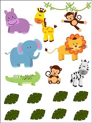 £3.49 • Buy Jungle Animals Jungle Theme Edible Cake Topper Wafer/Icing Decoration