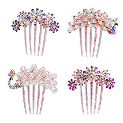 $2.87 • Buy Fashion Women Rhinestone Flower Wedding Bridal Hair Comb Hairpin Clip Jewelry