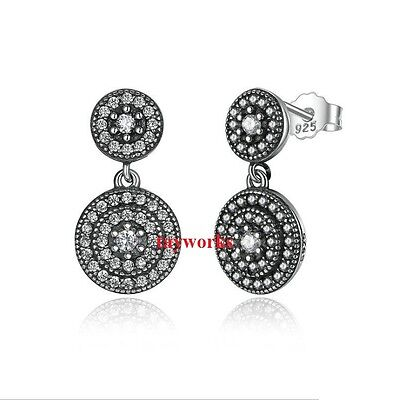 925 Sterling Silver Radiant Elegence Drop Earrings Studs Fit European Charm Bead • 16.99£