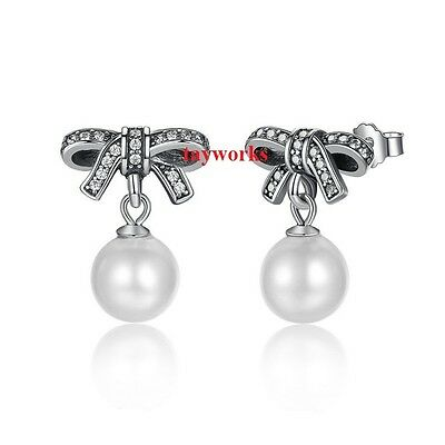 925 Sterling Silver Delicate Sentiments Bow Knot Pearl Studs Fit European Charm • 16.99£