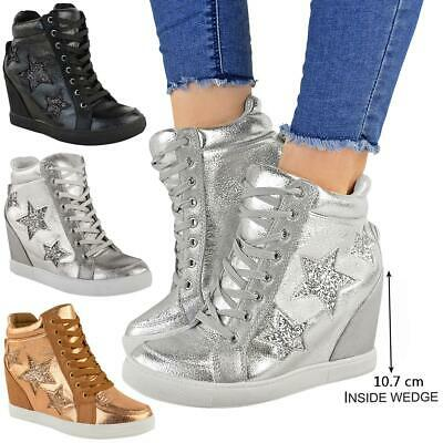 Womens Ladies Hidden Wedge Lace Up Trainers High Top Sneakers Glitter Shoes Size • 22.99£