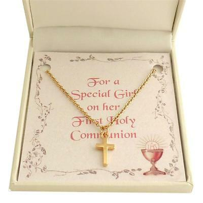 First Holy Communion Necklace For Girl. Rose Gold Cross Pendant. Gift Boxed. • 9.99£