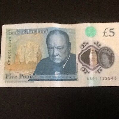 Five Pound Note Low Serial Number AA01 £5 Polymer Note • 49£