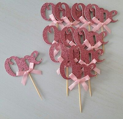AU16.95 • Buy 1st Birthday  One  Cupcake Toppers With Bows Boy Girl First Birthday Party