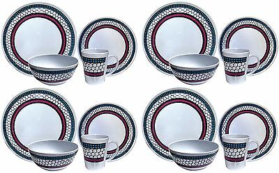 £32.99 • Buy 16pc Melamine Outdoor Dinner Set Plates Bowls Cups BBQ Camping Fishing Picnic BN