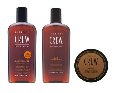 £27.49 • Buy American Crew Daily Shampoo 450ml, Conditioner 450ml And Pomade 50g