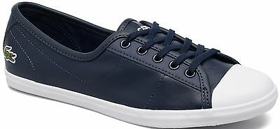Lacoste Ziane Navy White Leather Womens Trainers Shoes • 29.99£