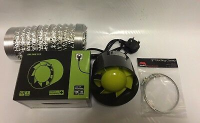 5  Inch 125mm Inline Extractor Intake Grow Room Fan 3M Ducting & 2 Ducting Clips • 29£