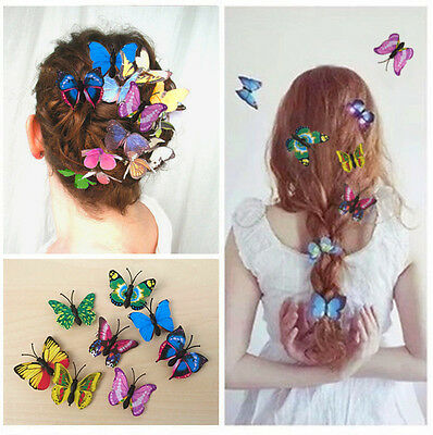 £3.99 • Buy Butterfly Hair Clips 10 Mixed Imitation 3D Festival Summer Party Wedding Gift