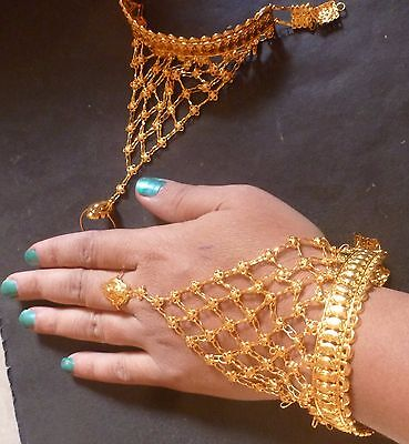 £18.99 • Buy 22K Gold Plated Indian One Ring Two Pieces Haat Panja Hand Jewelry Bracelet