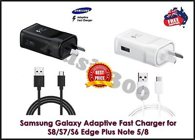 AU5.99 • Buy Genuine Samsung Galaxy S8 S9 S10 S20 / Note8 9 Fast Wall Charger & Type-C Cable