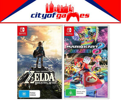 AU154.95 • Buy The Legend Of Zelda Breath Of The Wild & Mario Kart 8 Deluxe Switch New & Sealed
