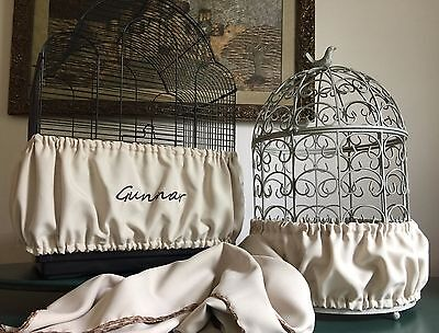 $45 • Buy Handcrafted Beige Tan Fabric Bird Cage Seed Catcher Skirt Guard Or Cover XS-XXL