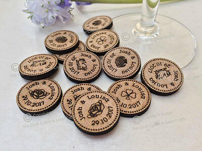£25.99 • Buy Personalised Rustic Wooden Lucky Penny Style Tokens Wedding Favours, Confetti