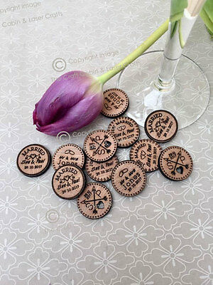 Personalised Rustic Wooden Tokens Wedding Favours, Confetti • 2.45£