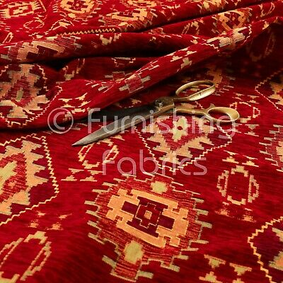 £34.99 • Buy Heavyweight Traditional Kilim Aztec Red Pattern Upholstery Furnishing Fabric