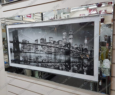 Black & White New York Skyline Wall Art With Crystals, Liquid Art & Mirror Frame • 199.99£