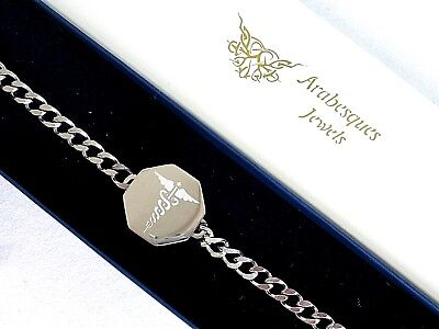 Arabesques Jewels Sos Bracelet/medical/emergency Stainless Steel Talisman Silver • 24.99£