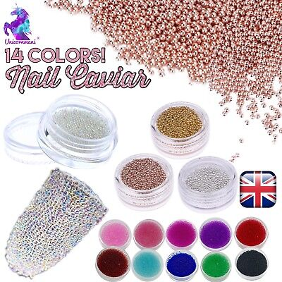 CAVIAR BEADS ROSE GOLD Crystal 3D Micro Ball Pixie Nail Art Decoration Glass UK • 3.50£