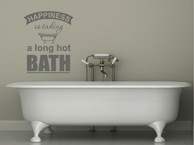 Bathroom Wall Quote  Happiness Is...  Wall Art Sticker, Vinyl Decal, Transfer • 11.95£