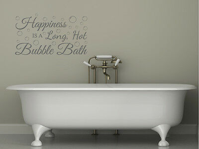 Bathroom Wall Quote  Happiness Is...  Wall Art Sticker, Vinyl Transfer, Decal. • 15.95£