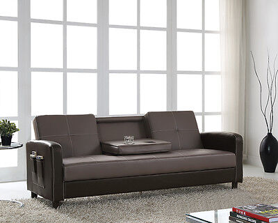 Sofa Bed Faux Leather With Cup Holder And Armrests 3 Seater Black Brown Grey New • 209.99£