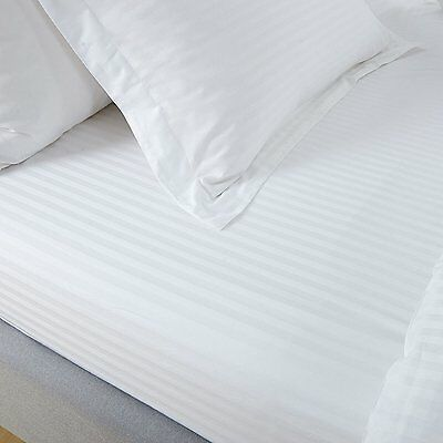 AU28.78 • Buy 100% Egyptian Cotton Sateen 300tc White Satin Stripe Fitted Sheet Hotel Quality