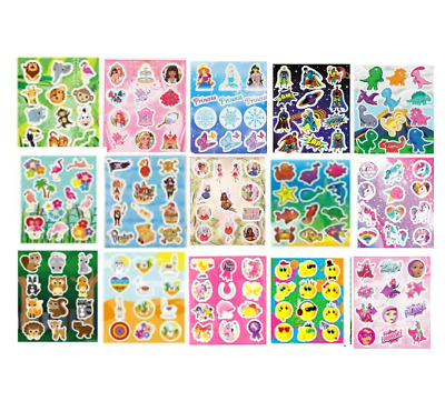 Childrens Party Bag Stickers Sticker Sheets Kids Fillers 18 Designs 2 - 60 Packs • 1.19£