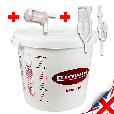 30 Litre Fermenting / Fermentation Bucket Vessel With Airlock Home Brew Beer Uk • 15.99£